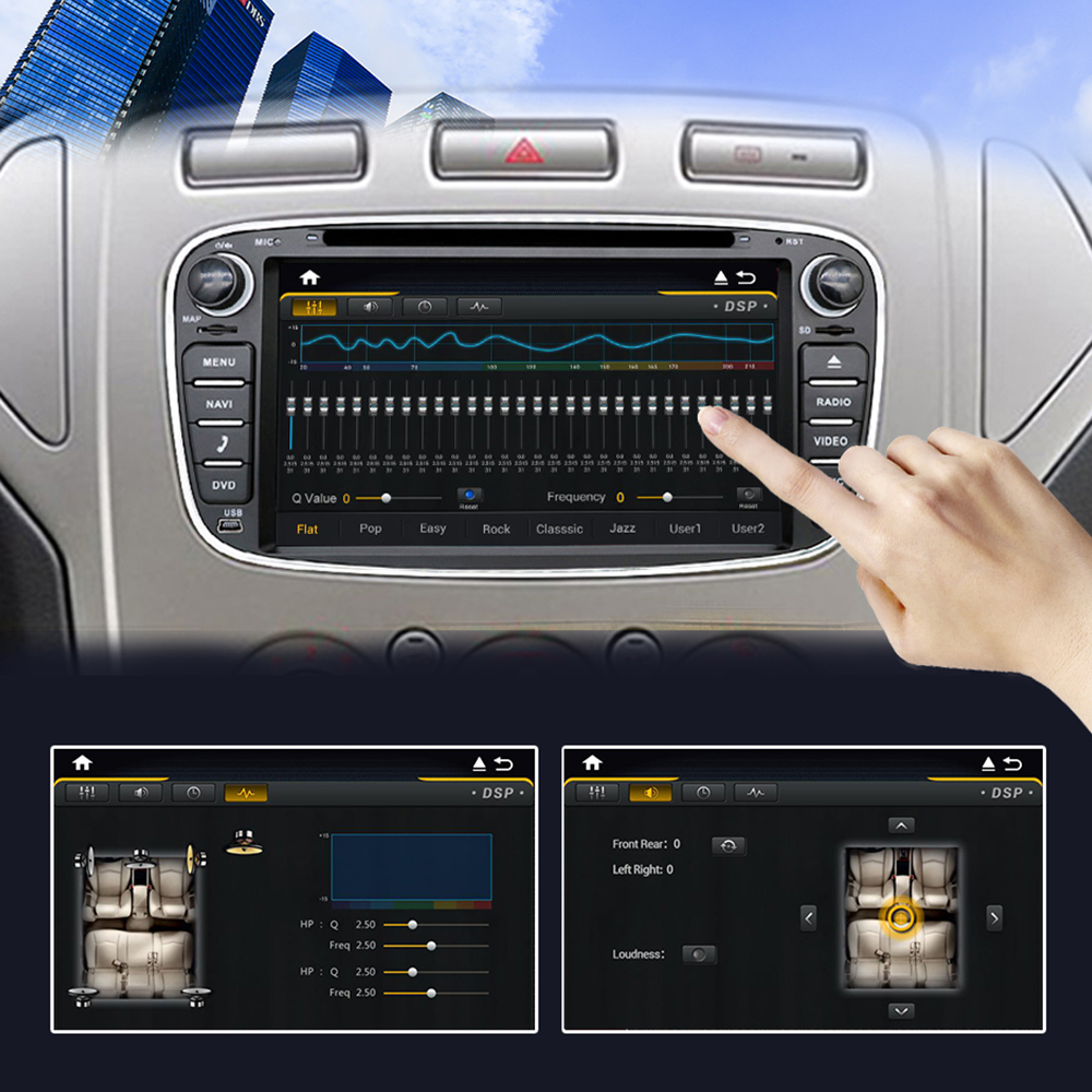 Discount Eunavi 2 din Android 9.0 Car DVD Radio Multimedia GPS for FORD Focus Mondeo S-MAX C-MAX Galaxy 4G 64G IPS DSP TDA7803A head unit 2