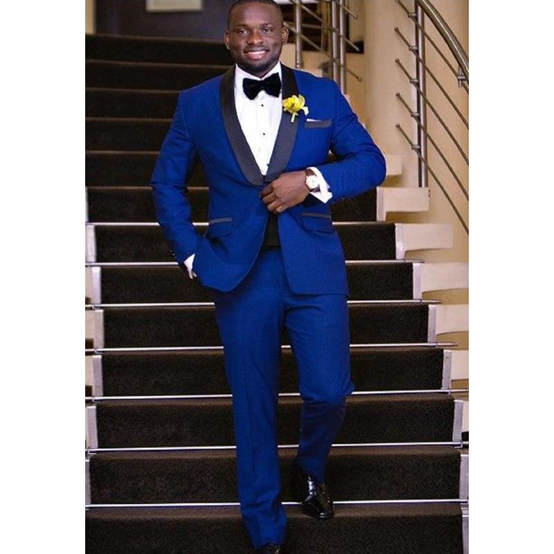 New Style Royal Blue Wedding Suits For Men Slim Fit Custom 3 Piece Tuxedo Prom Groom Suit Blazer (Jacket+Pants)