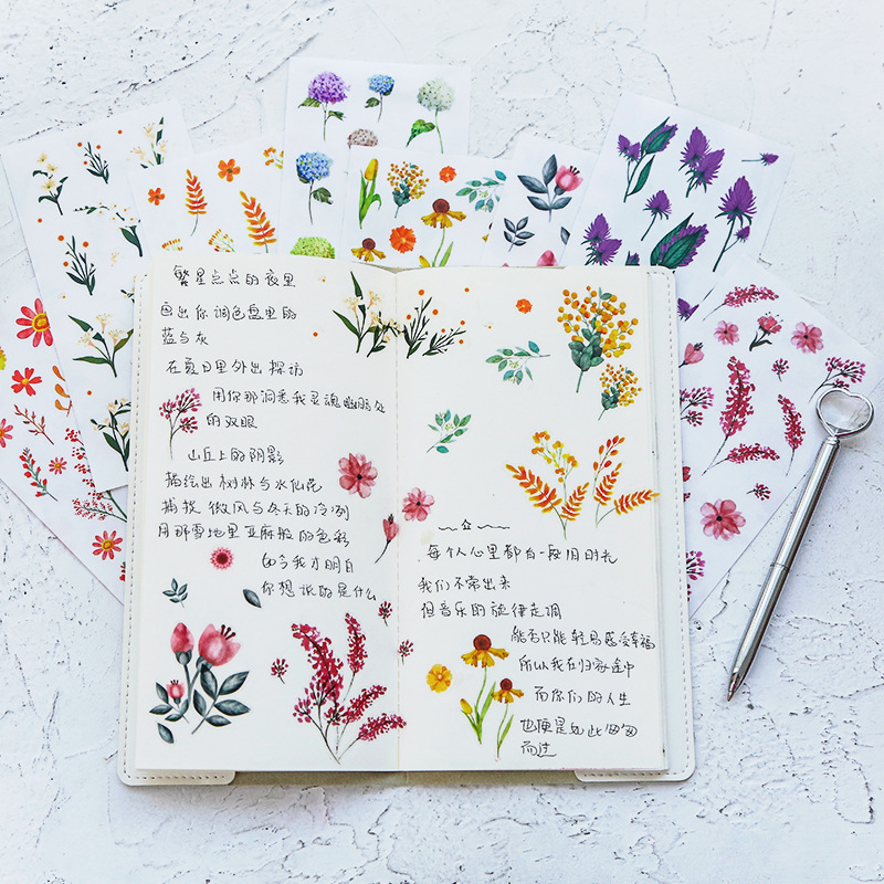 1Pcs Creative Simulation Plant Flowers Sticker Manual Decals PVC Sticker Hand Account Book Vase Decoration Stickers For Diary