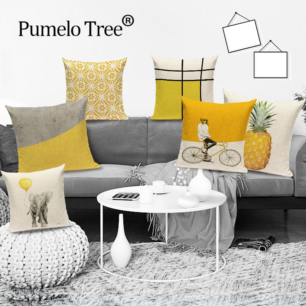 Скандинавский геометрический декоративный чехол для диванной подушки, желтая полоса, наволочка для подушки, ананас, домашний декор, диванн...