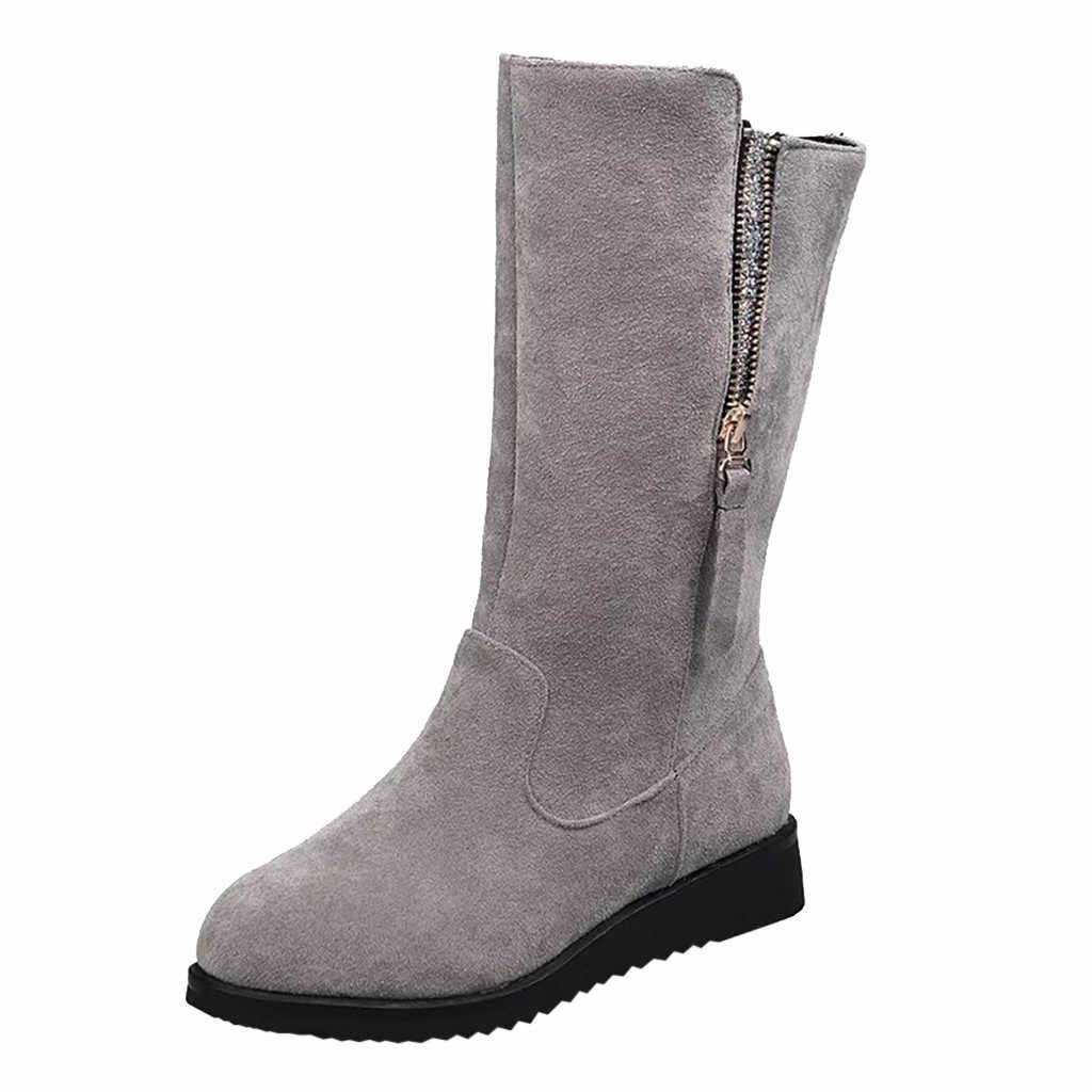 Kadın Orta buzağı Süet Kışlık Botlar Moda Eğlence Büyük Boy Fermuar Takozlar Med Topuklu kısa çizmeler Tutmak sıcak ayakkabı kadın patik