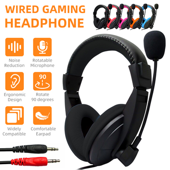 Stereo Over Ear Wired Gaming Headphone For PC Gamer Music Hifi MP3 MP4 3.5mm Audio Cable Headset For Computer/Laptop/Cellphone