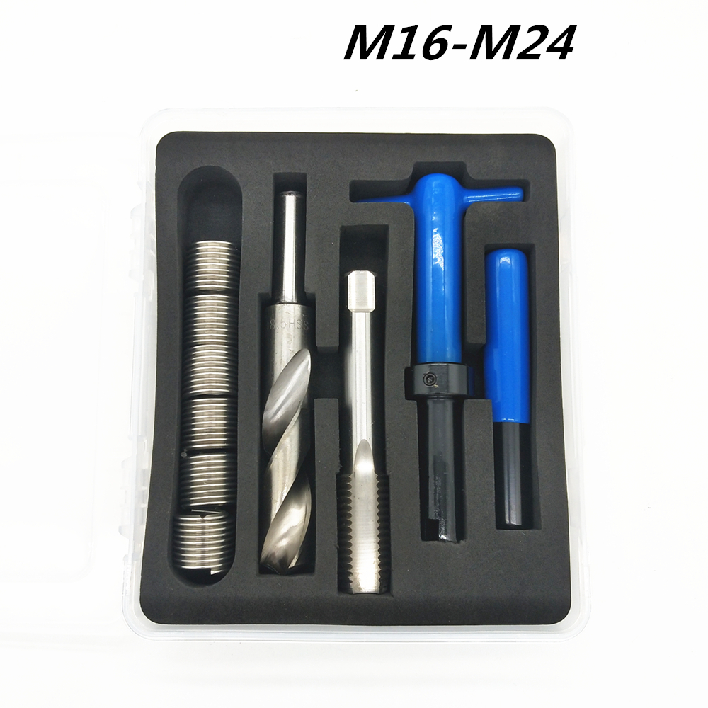 Car Pro Coil Drill Tool Metric Thread Repair Insert Kit M16 M18 M20 M22 M24 For Helicoil Car Repair Tools Coarse Crowbar