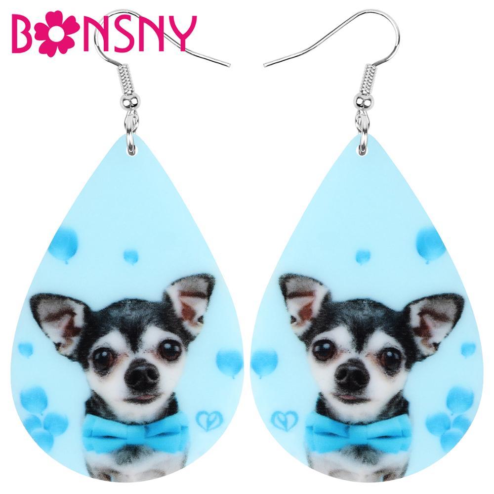 Bonsny Acrylic Teardrop Bow Knot Chihuahua Dog Earrings Animal Drop Dangle Jewelry Ornaments For Women Girl Teen Kids Charm Gift
