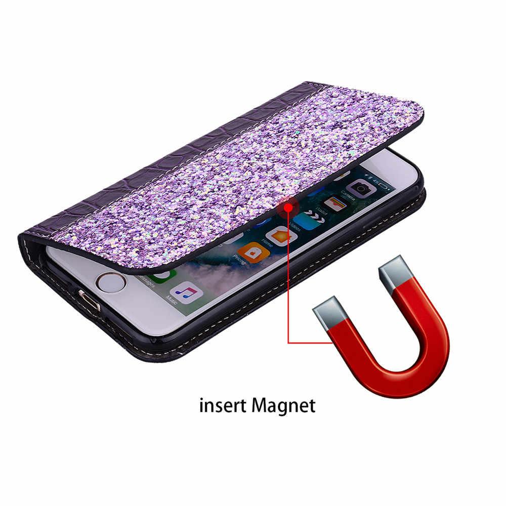 حافظة جلدية فاخرة بلينغ لموتورولا موتو G5 G7 G5S C E4 Plus G6 G7 P30 Play G7 ONE Power VISION P30 نوت محفظة قلابة