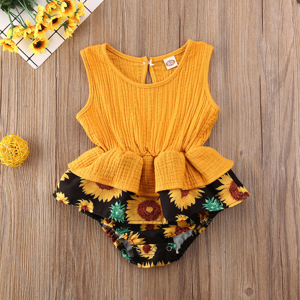 Pudcoco Newborn Baby Girl Clothes Flower Print Patchwork Sleeveless Romper Jumpsuit One-Piece Outfit Cotton Clothes