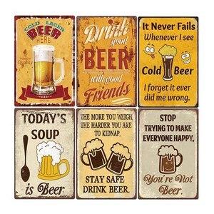 Винтажная пивная табличка, металлическая Жестяная Табличка, железный постер, краска для бара, клуба, настенная декоративная тарелка для паб...