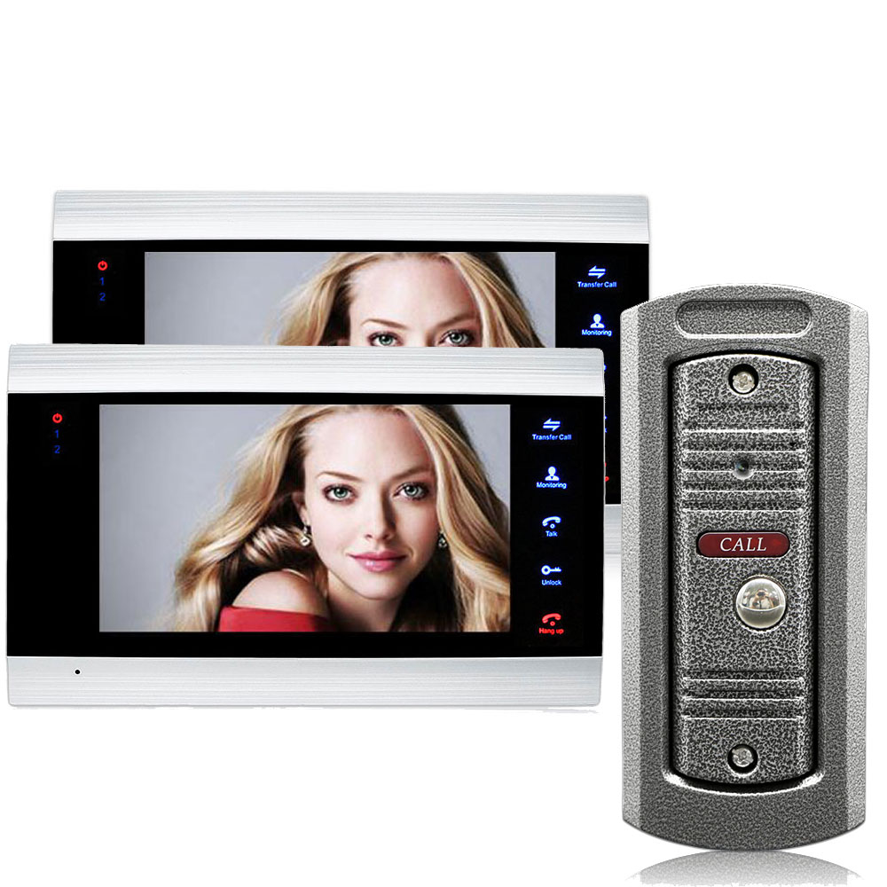 7 Inch 2 Monitor Video Doorbell Home Intercom Video Door Phone Wide Angle Doorbell Camera TF Memory Card Video Intercom