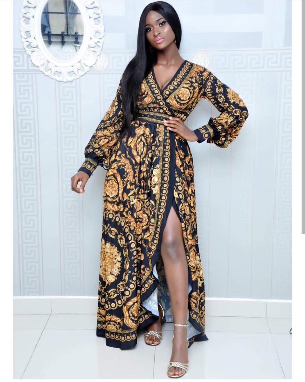 Elegant African Design Print Dashiki Dress Belt Vintage Ladies Bazin Maxi Robe Gowns Broder Riche Sexy Evening Party