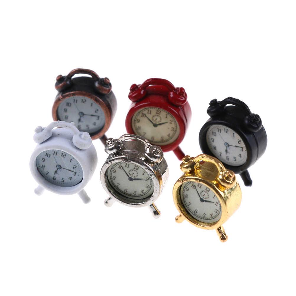 1:12 Skala Jam Alarm Mini Home Dekorasi Rumah Boneka Miniatur Mainan Boneka Yang Indah Dapur Ruang Tamu Aksesoris