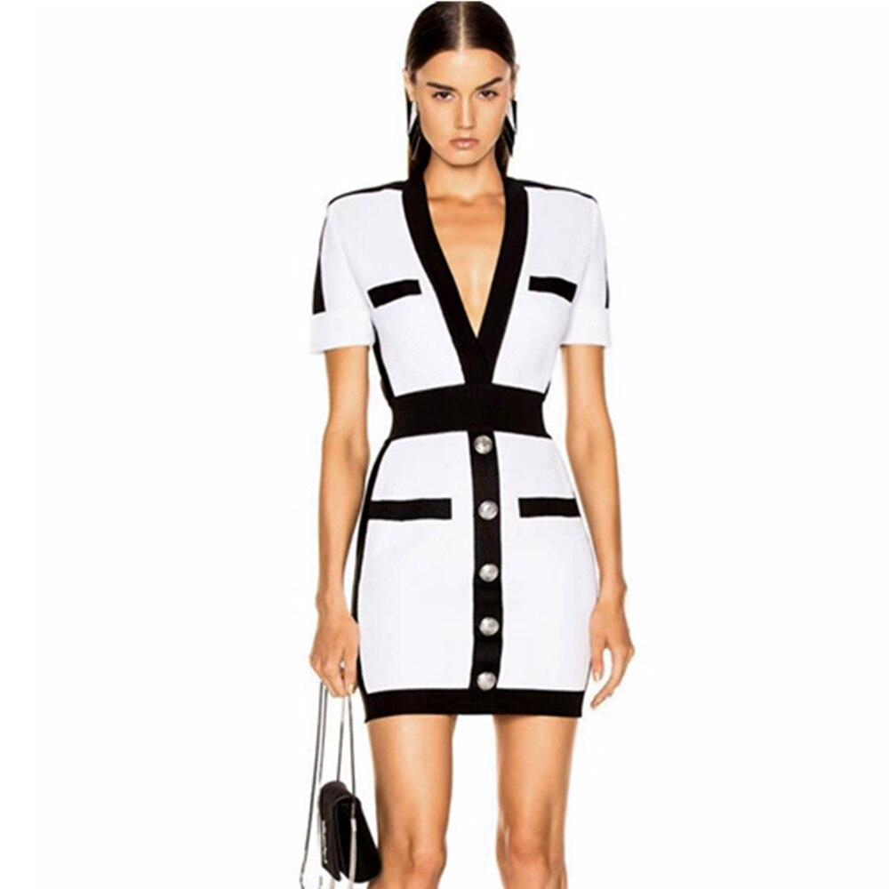 Free Shipping Sexy V Neck Patchwork Short Sleeve Women Bandage Dress 2021 Celebrity Designer Fashion Party Dress Vestido