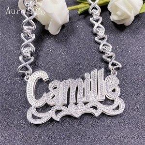 AurolaCo Customized Name Necklace XOXO Neckalces Double Layer Gold-plated Nameplate Fashion Personalized Necklace Gifts