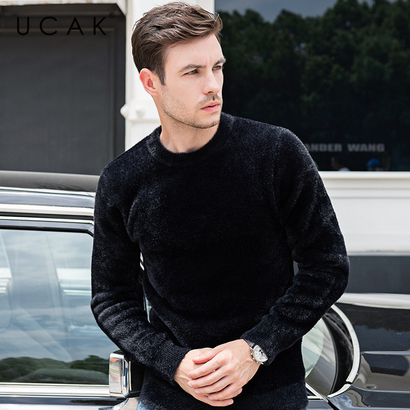UCAK Brand Sweater Men Fashion Trend O-Neck Pull Homme Casual Streetwear Solid Tops Brand Pullover 2019 Winter Autumn Knit U1025
