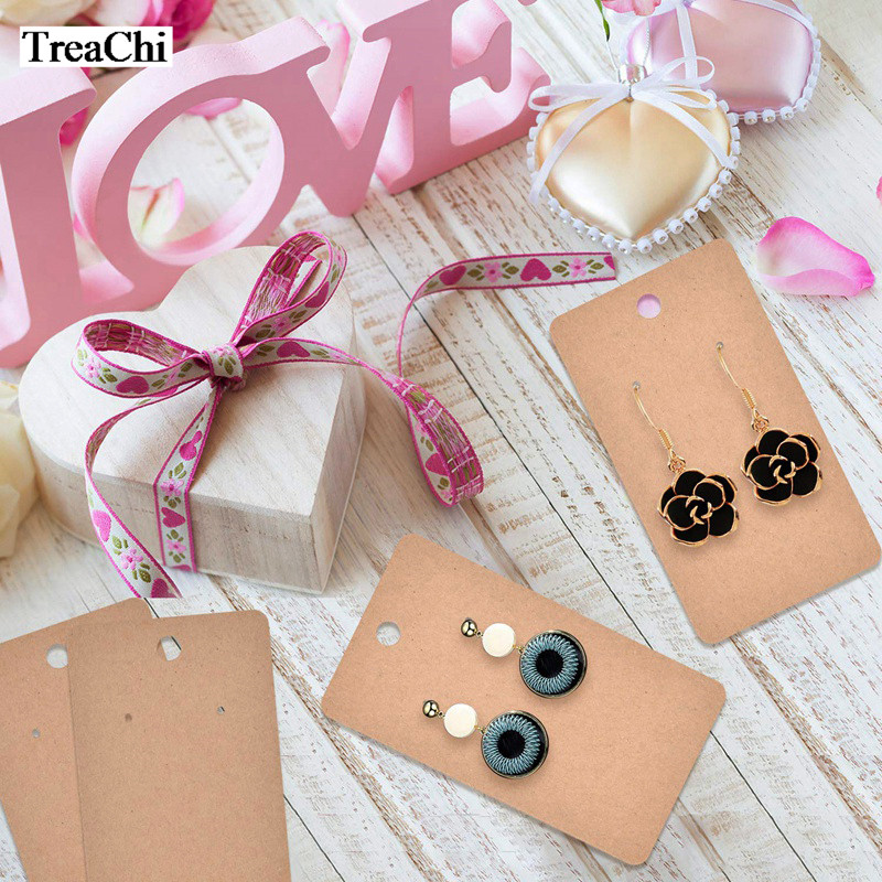 100Pcs Kraft Paper Earring Card Blank Jewelry Display Card Cardboard Earring Package Hang Tag Card Brown 5 X 9cm Earring Display