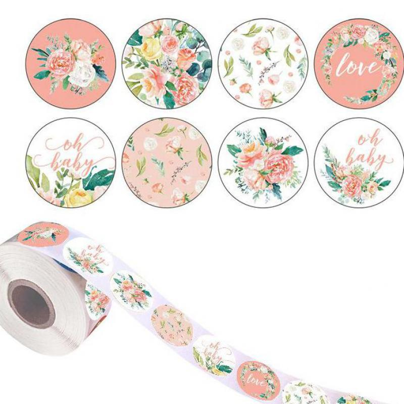 500pcs 8 Designs Floral Thank You Stickers Seal Labels Christmas Gift 1inch Decoration Sticker For Package Stationery Sticker