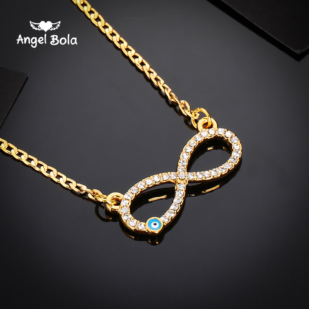 1PC Fashion Gold Blue Evil Eye 8 Endless Fatima <font><b>Palm</b></font> Necklace for Women <font><b>Men</b></font> High Quantity Jewelry AAA Crystal Drop Shipping image