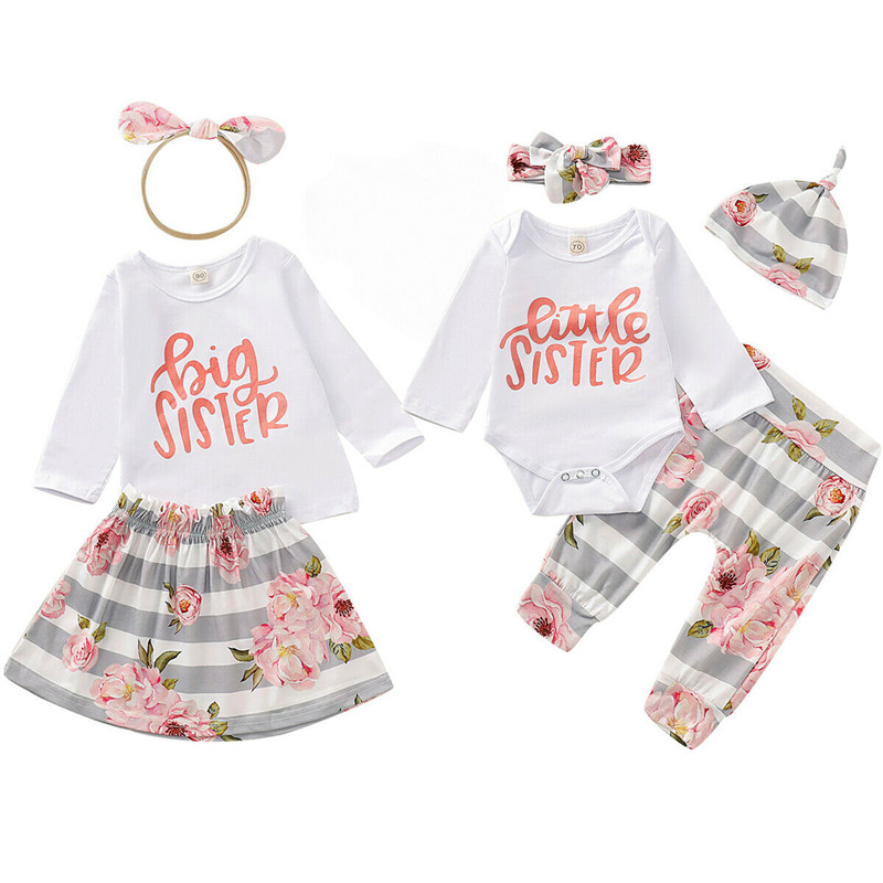 Sister Match Girl Clothes Set Big Sister 3Pcs T-shirt Skirt Headband Little Sister 4Pcs Romper Pants Hat Headband Kid Outfits