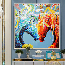 Hand-painted blue Horse Wall Art Rich color horse Pictures animal Oil Painting on Canvas loving couple Painting  wedding gift yhhp hand painted animal canvas oil painting hair donkey