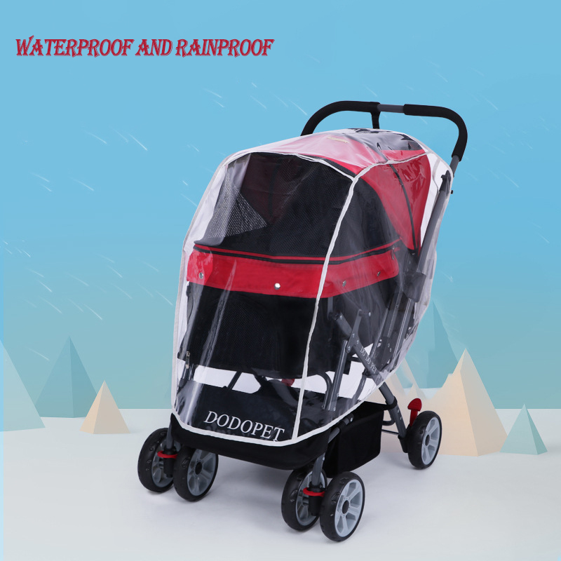 Pet Stroller Rain Cover Stroller Rain Cover Cart Rain Cover for All Kinds of Cat and Dog Carts 14