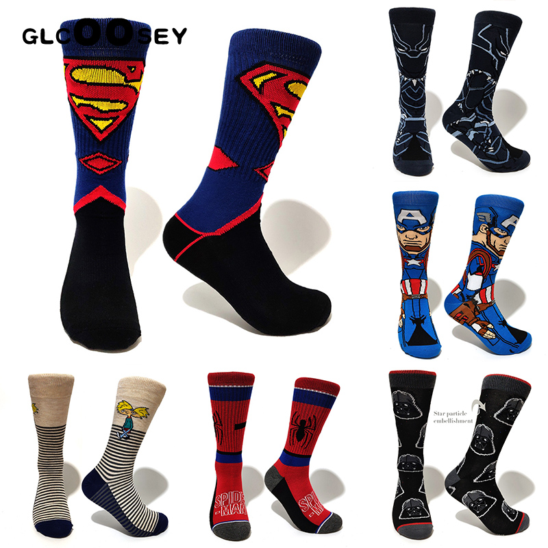 Men Socks Novel Comics Avenger Deadpool Sox Superman Spider-man Thor Captain America Wonder Woman Cartoon Socks Couple