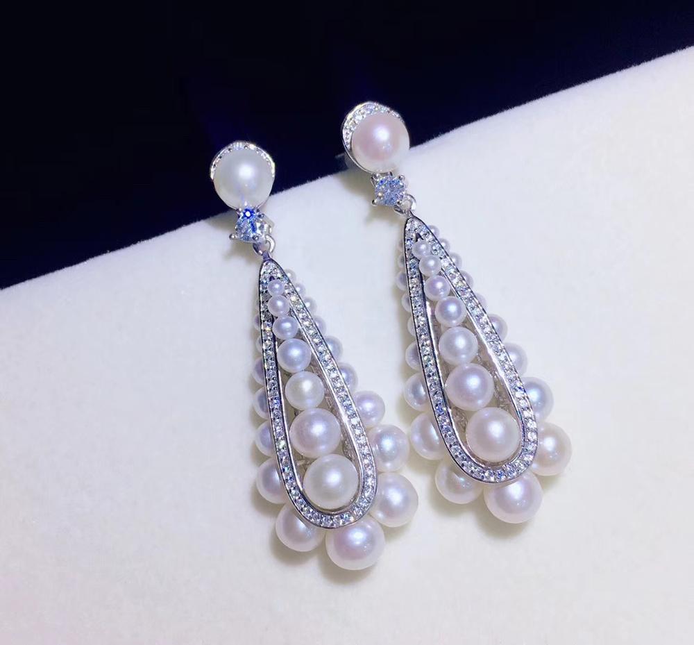 100% reale naturale di acqua dolce perla orecchino di goccia dal piccolo al grande 2 6 MILLIMETRI argento sterling 925 con cubic zircon dei monili di modo