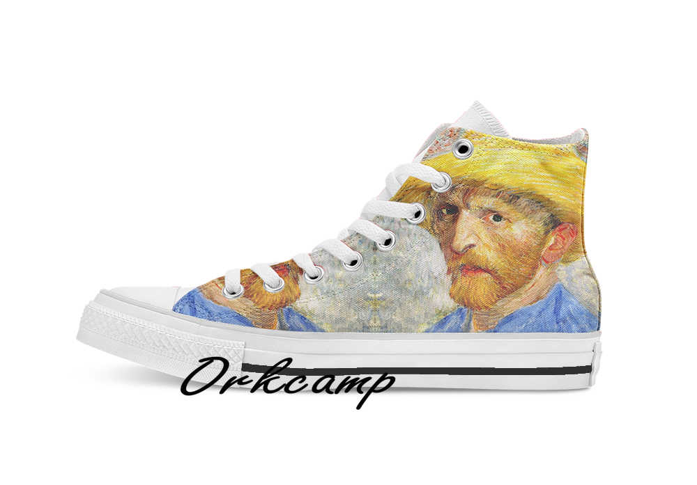 Vincent Van Gogh Zelf Met Strohoed 1887 Custom Casual Hoge Top Lace-Up Canvas Schoenen Sneakers Drop Shipping