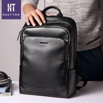 100% High Quality Genuine Leather Men Backpack Laptop Bag Fashion Boys Travel Backpack Schoolbag For Teenagers Leather Rucksack