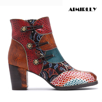 Women's Boots Retro Printed Leather Boots Patchwork Jacquards Ankle Boots Zipper Round Toe High Heels 6cm Shoes Block Heel