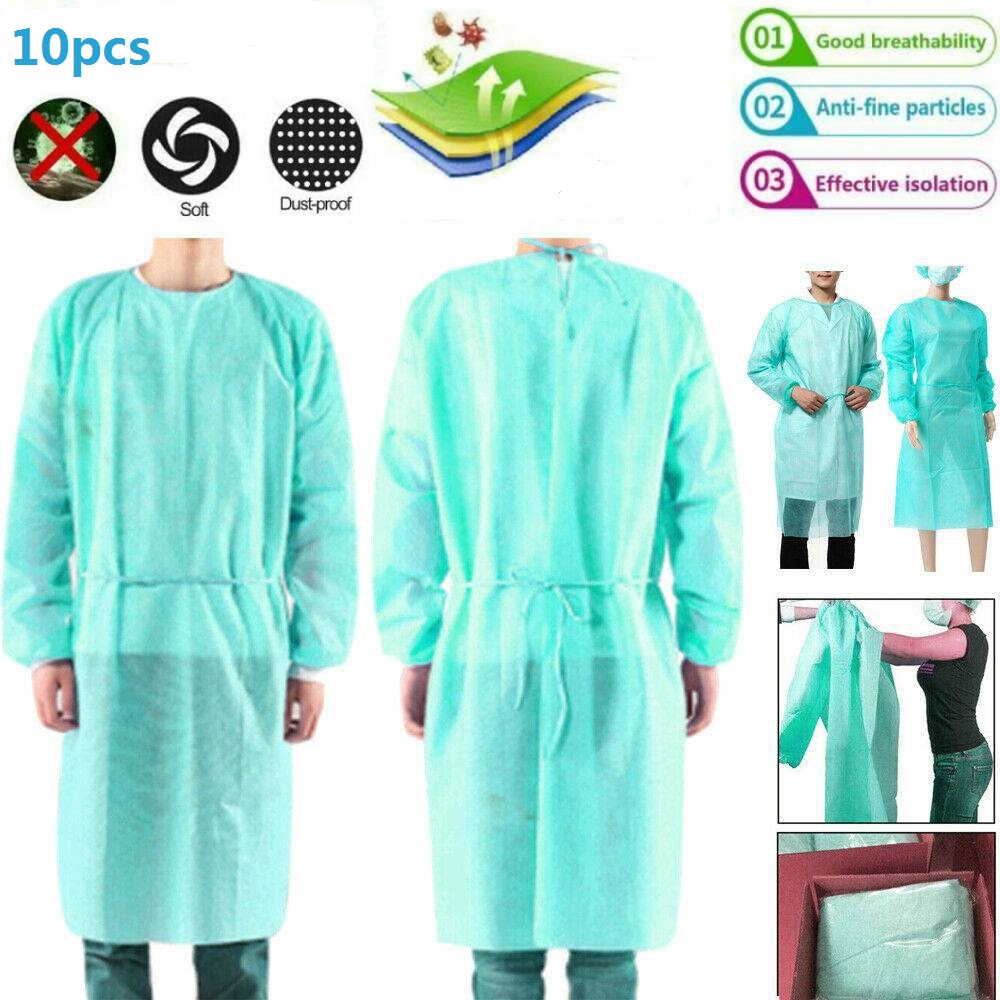 10pcs/lot Non-woven Security Protection Suit Disposable Isolation Gown Suit Siamese Non-woven Dust-proof Clothing Labor Safely