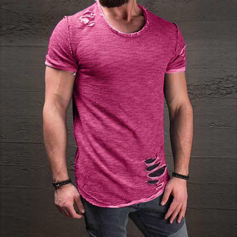 Mens T Shirts Fashion 2019 Men's Summer Men's Round Neck T Shirt Hem Short Sleeve T Shirt Men Oversized Men Clothes