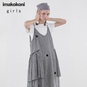 Imakokon/клетчатое платье с оборками на лямках; Летнее школьное маленькое платье в японском стиле оригинального дизайна; 192632