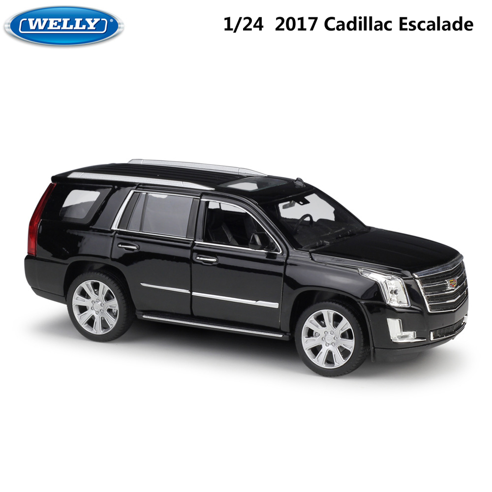WELLY Diecast 1:24 Simulator Alloy Model Car 2017 Cadillac Escalade SUV Metal Cars Toys For Children Gift Collection Decoration