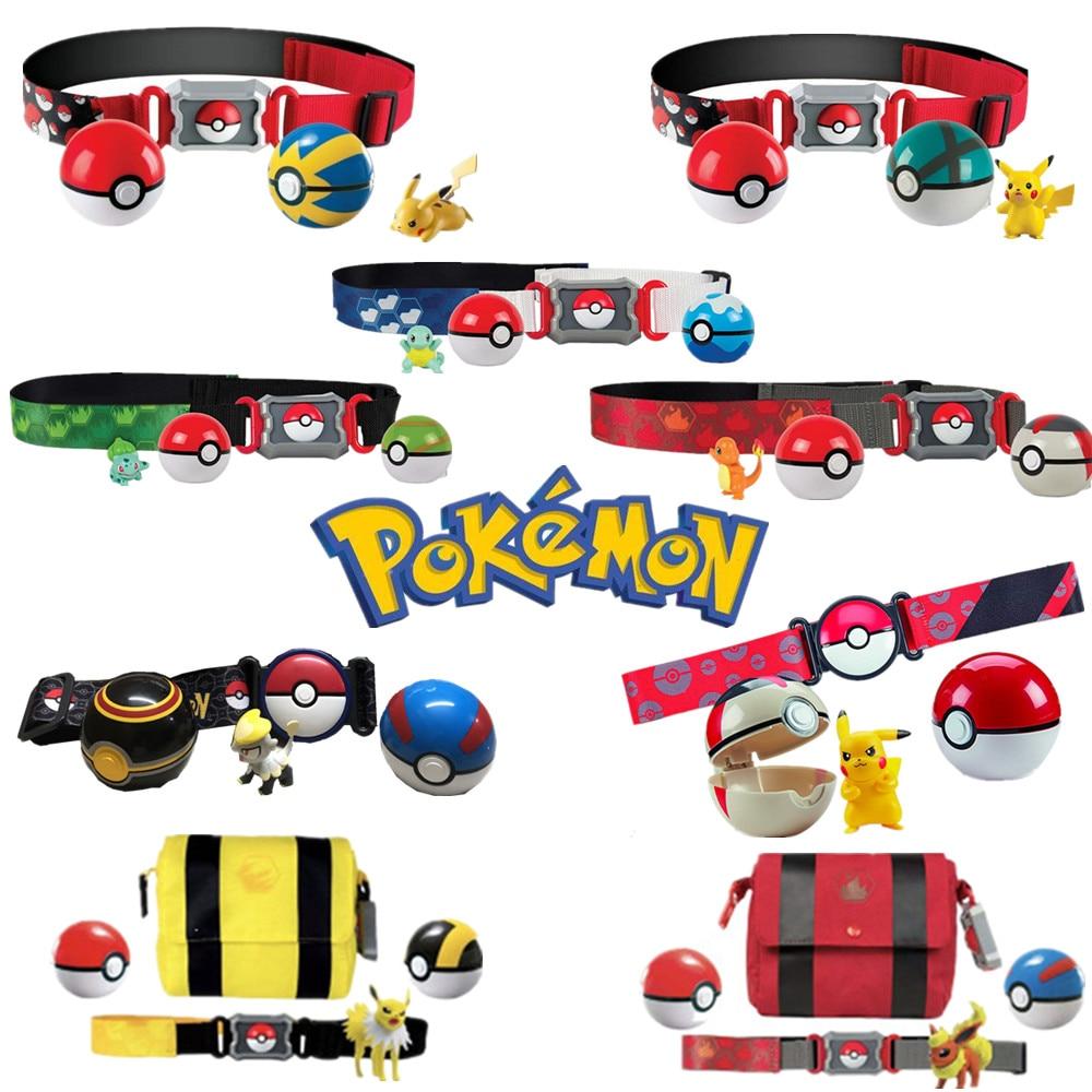 Anime Pokemon Pikachu Charmander Bulbasaur Poke Ball Belt Set Toys Clip N GO Carry Pokemon Go Game PVC Action Figure Kids Gifts