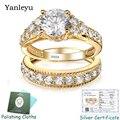 Yanlei conjunto de anéis para noivas, 2 peças de anéis de joia para casamento, prata esterlina 925 com ouro puro preenchido para mulheres pr368