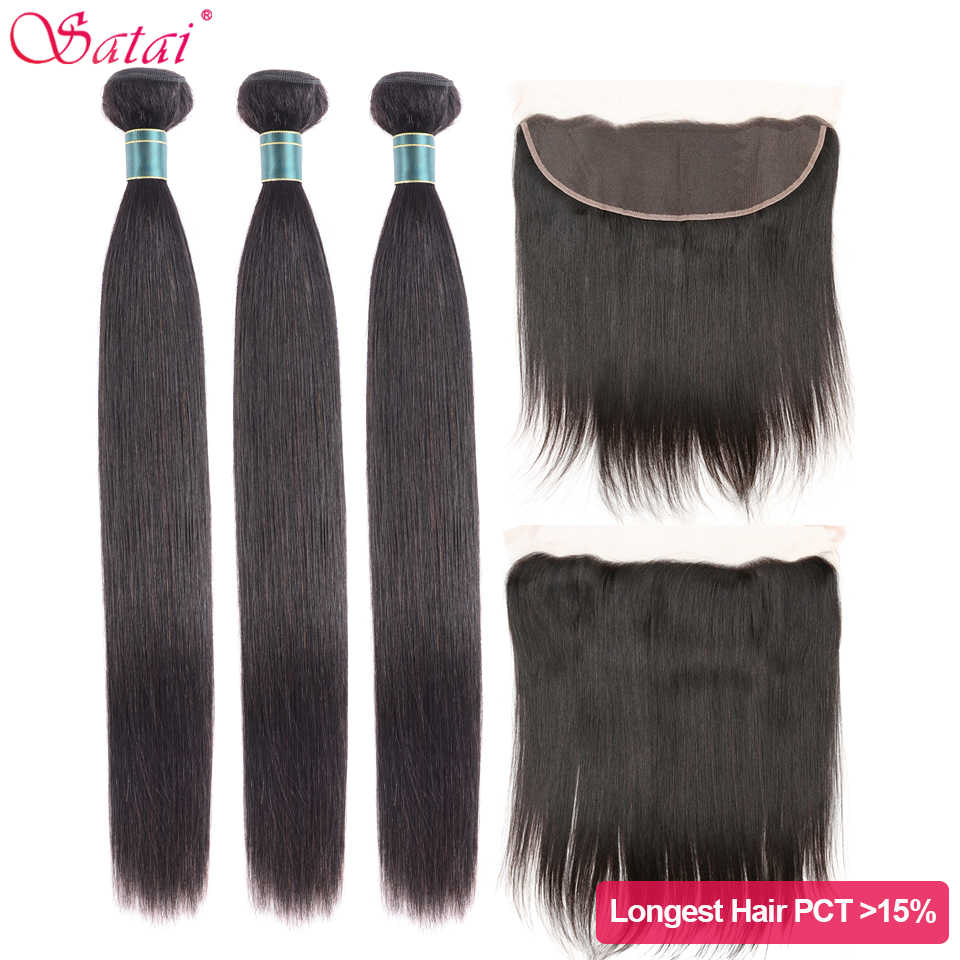 Satai Straight Hair Bundles With Frontal M Remy Brazilian Hair Frontal With Bundles 30 32 34inch Human Hair Bundles With Frontal