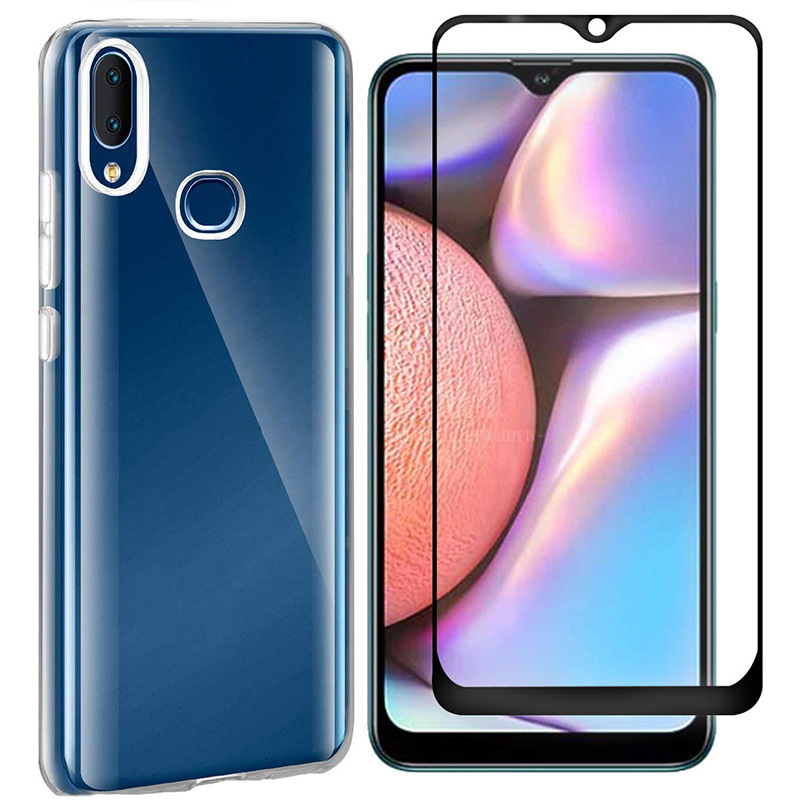 2-in-1 <font><b>Glass</b></font> + Full Cover <font><b>Case</b></font> for <font><b>Samsung</b></font> Galaxy A10S <font><b>A10</b></font> A10E Silicone <font><b>Case</b></font> Cover for <font><b>Samsung</b></font> <font><b>A10</b></font> A10S A10E Screen Protector image