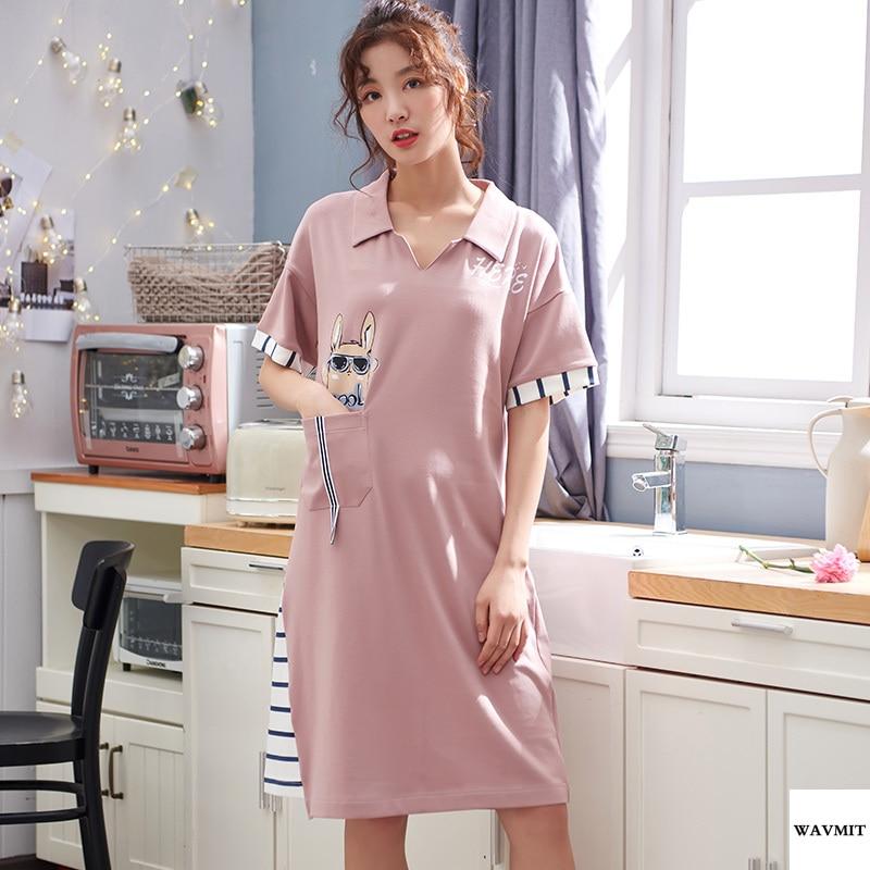 WAVMIT 2020 Spring Summer Women's Short Cotton sleepweaHome Nightshirt Women Causal Sleepwear Loose Ladies Nightgown Women Dress