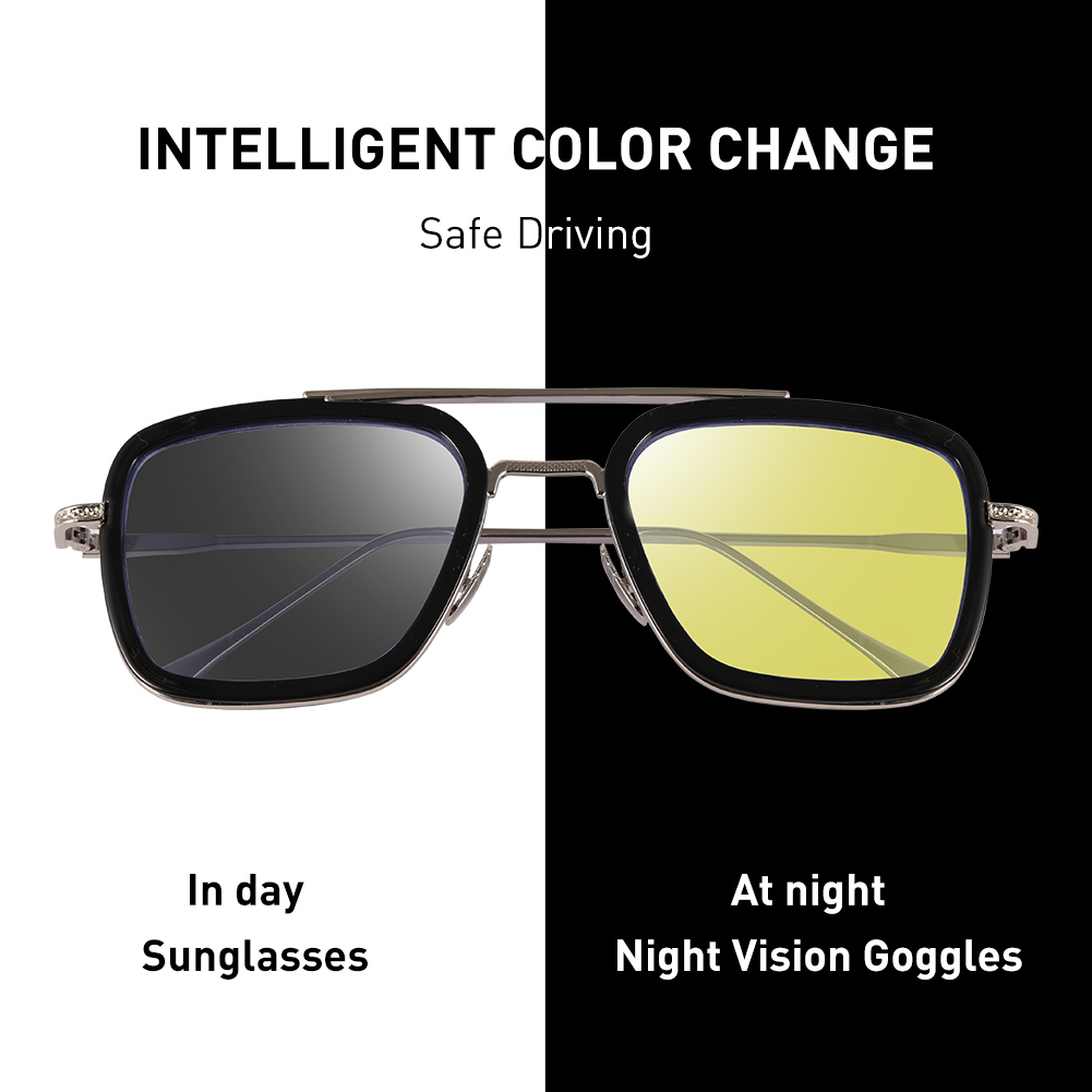 CAPONI Night Vision Tony Stark Sun Glasses Yellow Lens Driving Shades For Male 2020 New UV Protect Eyes Sunglasses Men BSYS66218