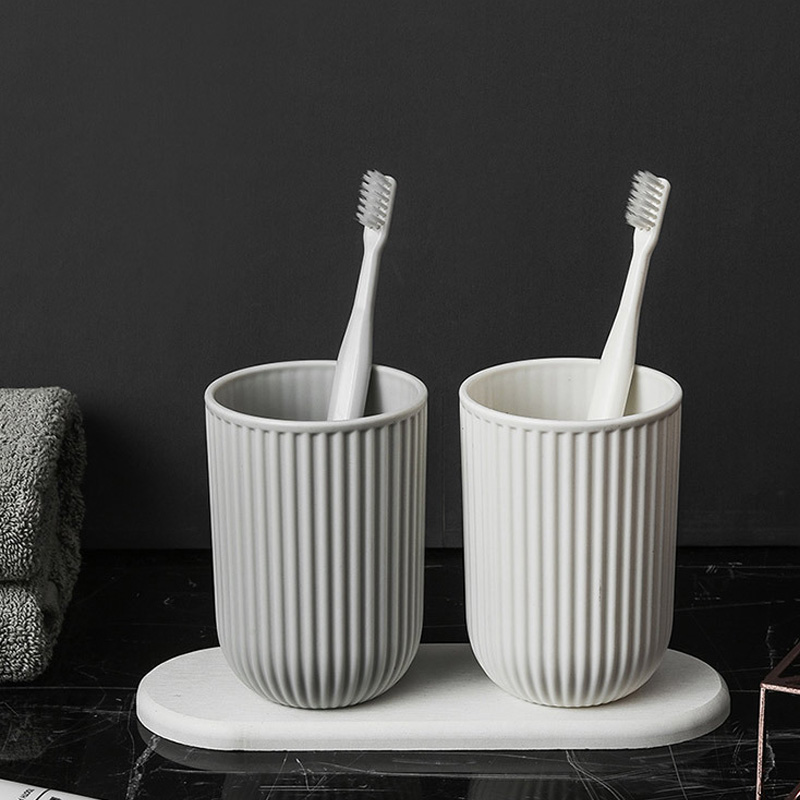 Simple PP Toothbrush Cup Set Couple Cups With Diatom Mud Storage Tray Two Couple Drinking Cup Bathroom Decoration Accessories