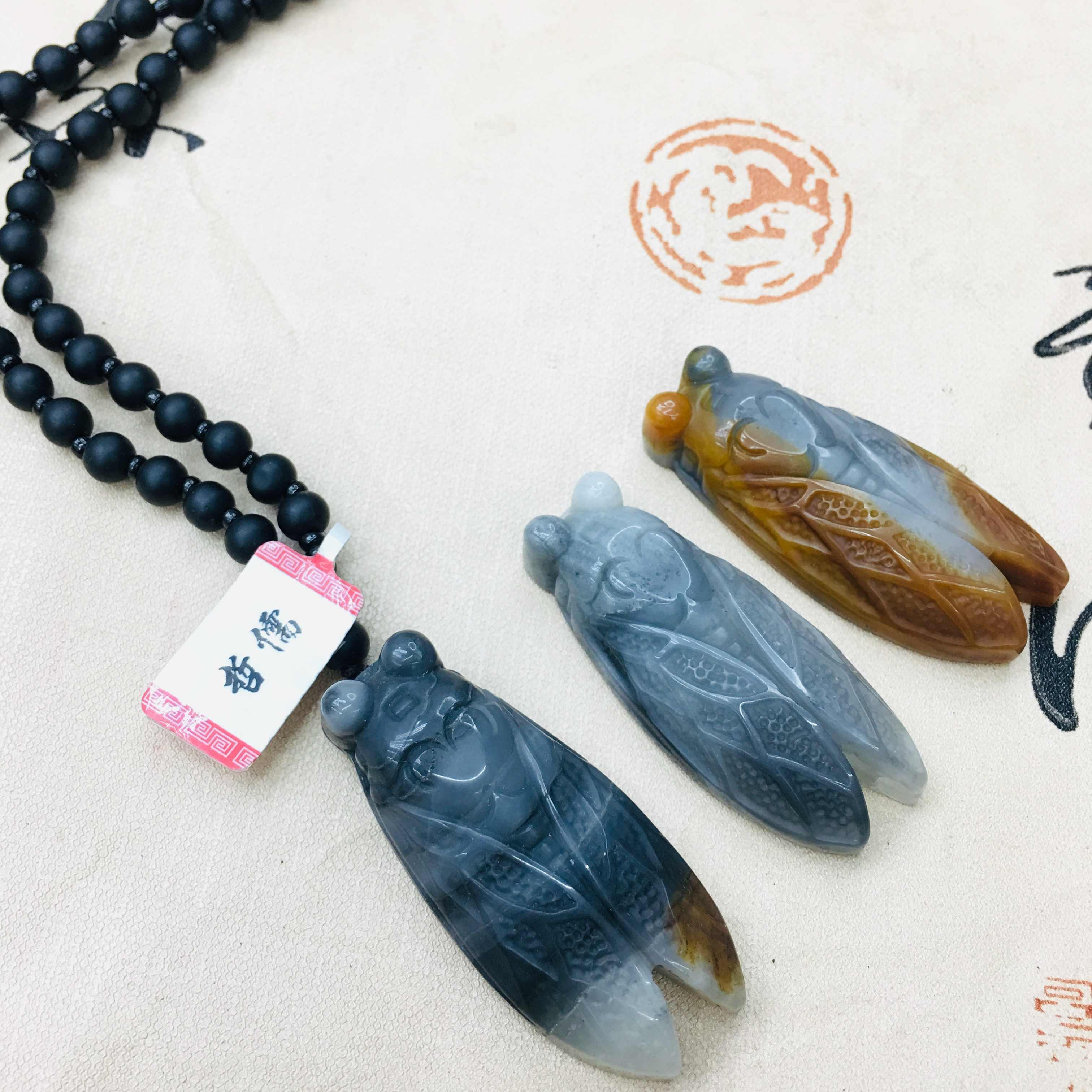 Zheru ナチュラルイエロードラゴン翡翠彫刻多色翡翠蝉ペンダント黒曜石ネックレスの男性と女性のセーターチェーン