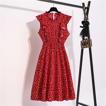 Vintage Butterfly Sleeve Ruffles Heart Dot Print Dress Women Medium Long Chiffon Ladies Spring Summer Dress Red Black Blue 1
