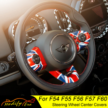 Car Steering Wheel Covers for MINI Cooper F54 F55 F56 F57 F60 Clubman Countryman Carbon Fiber Auto Interior Accessories Stickers