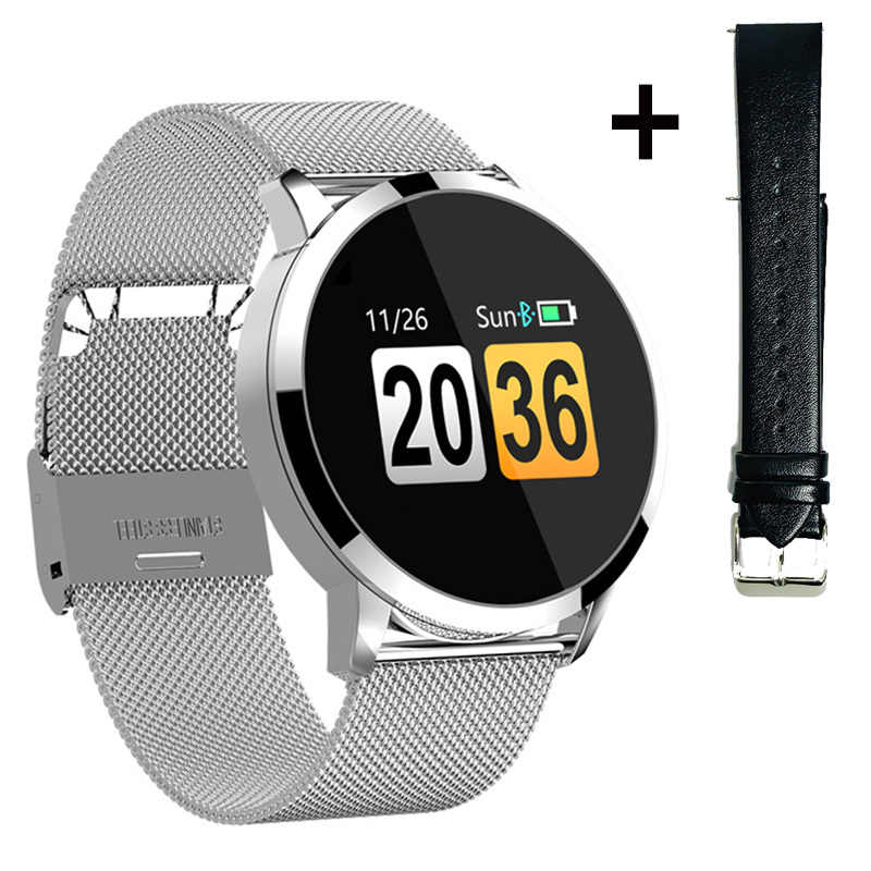 Newwear ترقية Q8 زائد ارتفع الذهب ساعة ذكية إلكترونيات الموضة الرجال النساء مقاوم للماء الرياضة المقتفي سوار لياقة بدنية Smartwatch