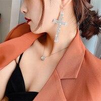 FYUAN géométrique cristal boucles d'oreilles goutte pour les femmes surdimensionné croix strass boucles d'oreilles boucles d'oreilles déclaration bijoux de fête