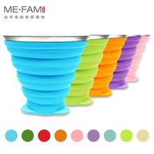 ME.FAM, 270 мл, силиконовая складная чашка из нержавеющей стали со шнурком/Пылезащитная крышка, уличные кофейные чашки, выдвижная дорожная копа