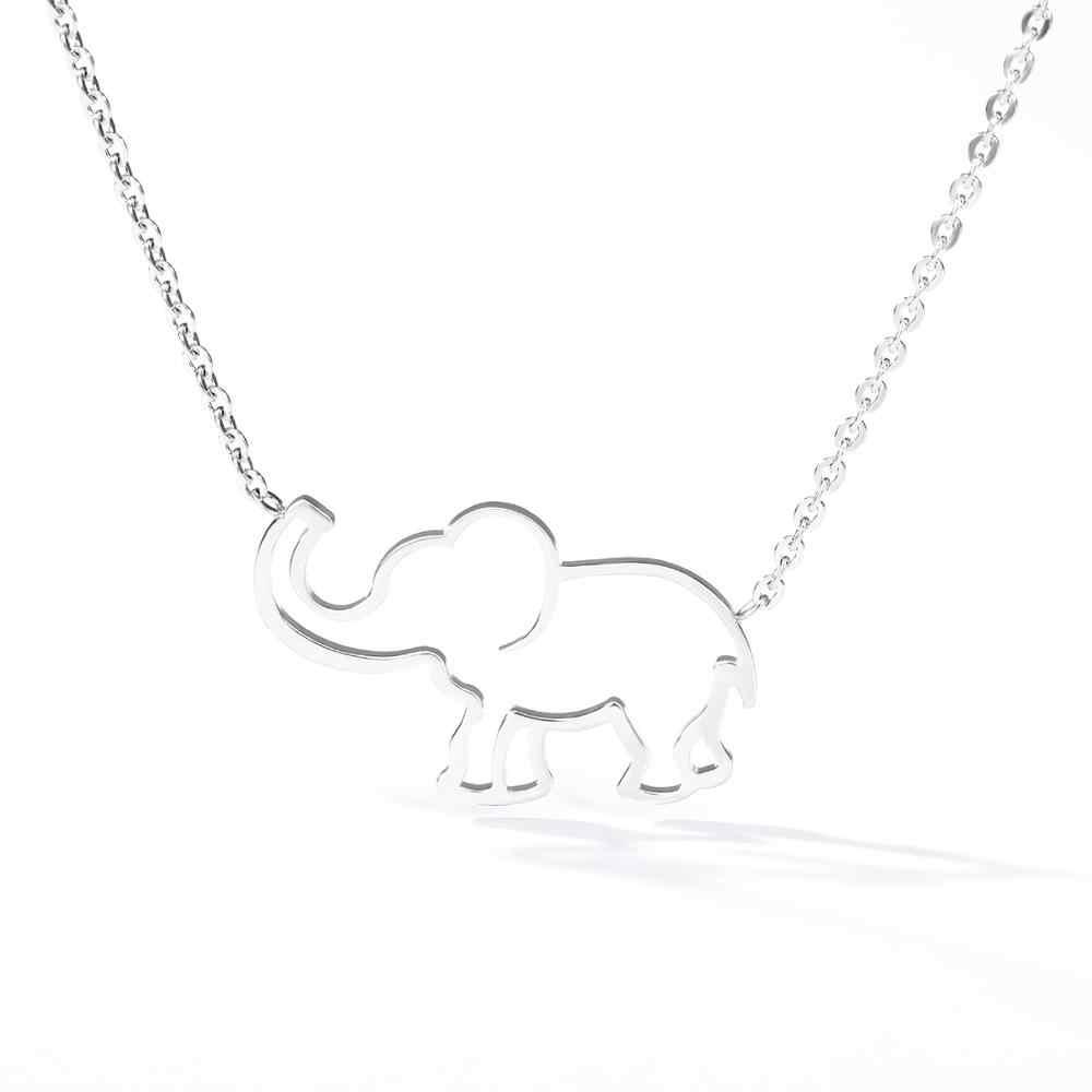 مجوهرات الغابات محظوظ اوريغامي الفيل قلادة ل الفولاذ المقاوم للصدأ للنساء المختنق سلسلة الذهب الجوف خارج Necklaces القلائد