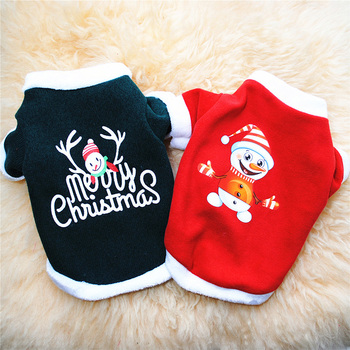 Christmas Dog Clothes Autumn Winter Warm Pet Clothing For Small Medium Dogs Cat Pet Sweater Printed Soft Fleece Puppy Costume image