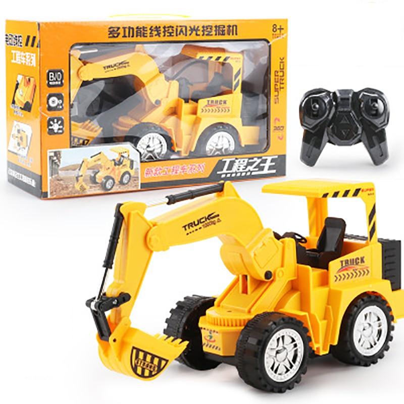 Mini Trucks Toy Remote Control Bulldozer Engineering Car Excavator Model Vehicle Toys For Children Boys Gift