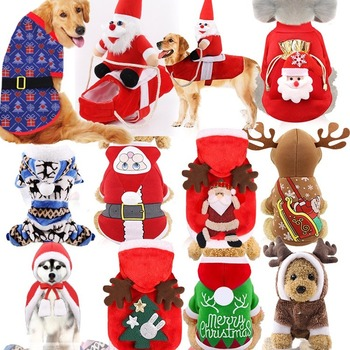 Hoodie Coral Velvet Dog Clothes Cotton Elk for Dogs Medium Clothing Pet Outfits Cute Autumn Winter Yorkies Red Boy Collar Perro image