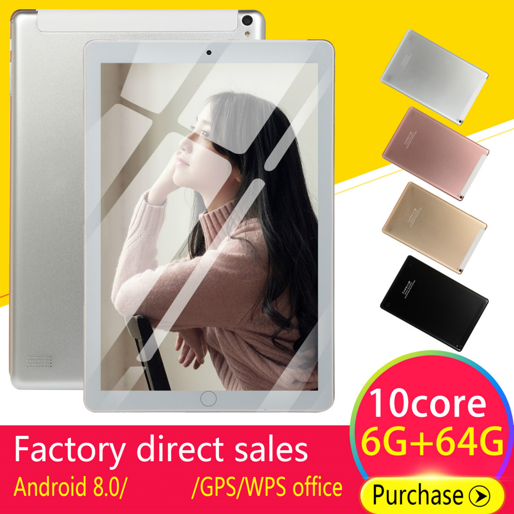 10 Inch Tablet Android 8.0 Quad Core 4GB RAM 64GB ROM  Screen Tablets 10 4G Phone Call Wifi GPS Bluetooth Video